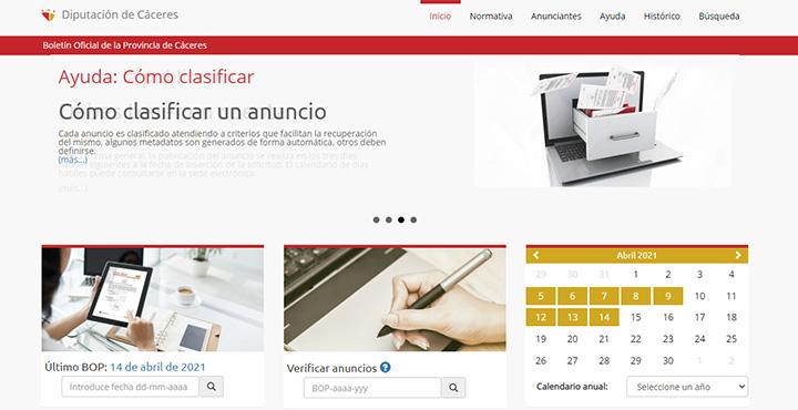 Web del Boletín Oficial de la Provincia de Cáceres