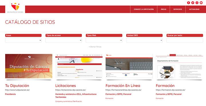 Web del Catálogo de sitios