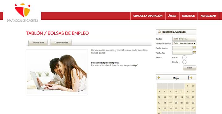 Web del Tablón de empleo de Diputación